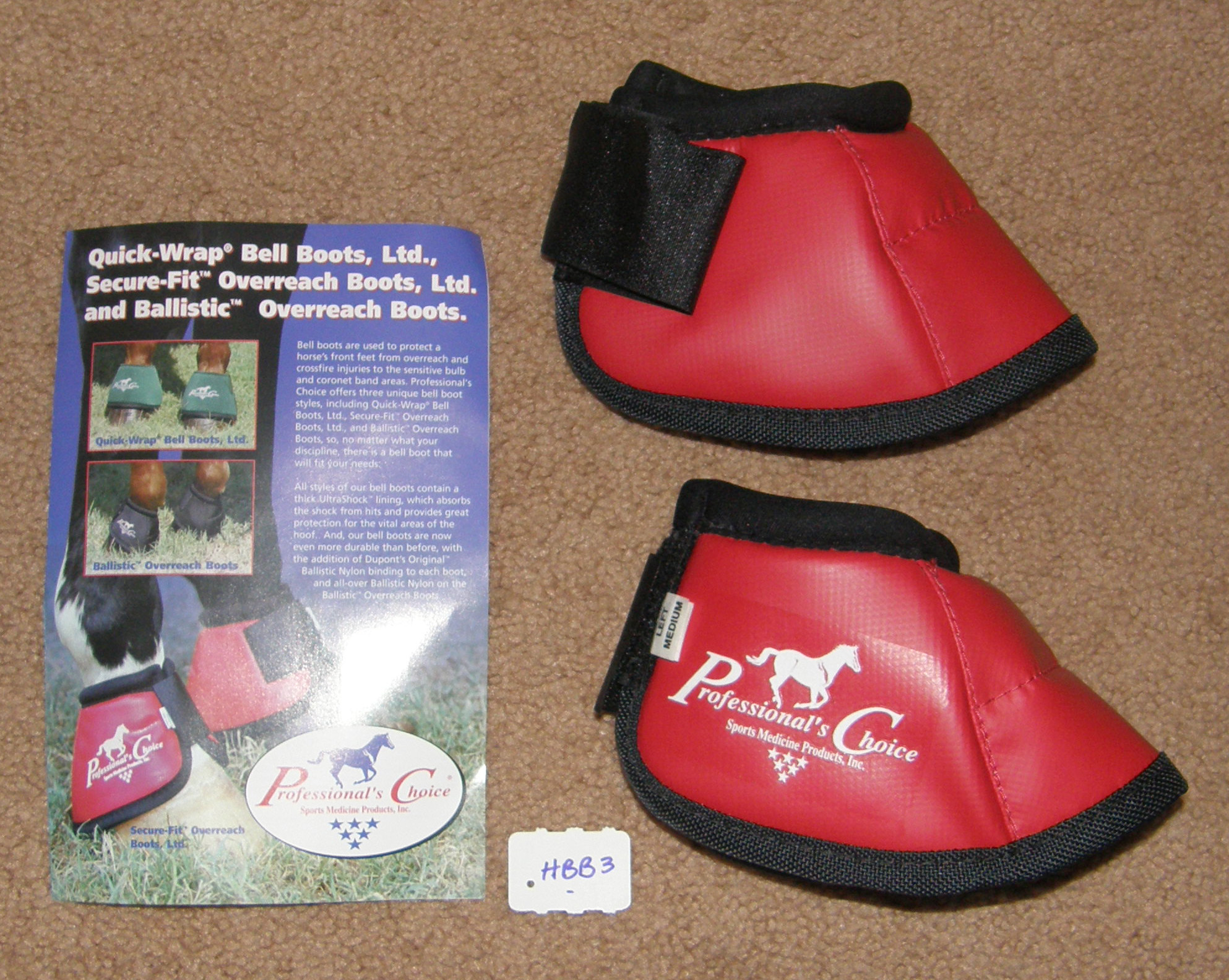 Professional's Choice Secure Fit Overreach Boots No Turn Bell Boots Velcro Bell Boots M Horse Red