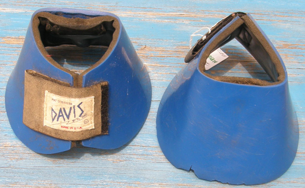 Davis No Turn Bell Boots PVC Smooth Overreach Boots Double Velcro Closure L Horse Blue