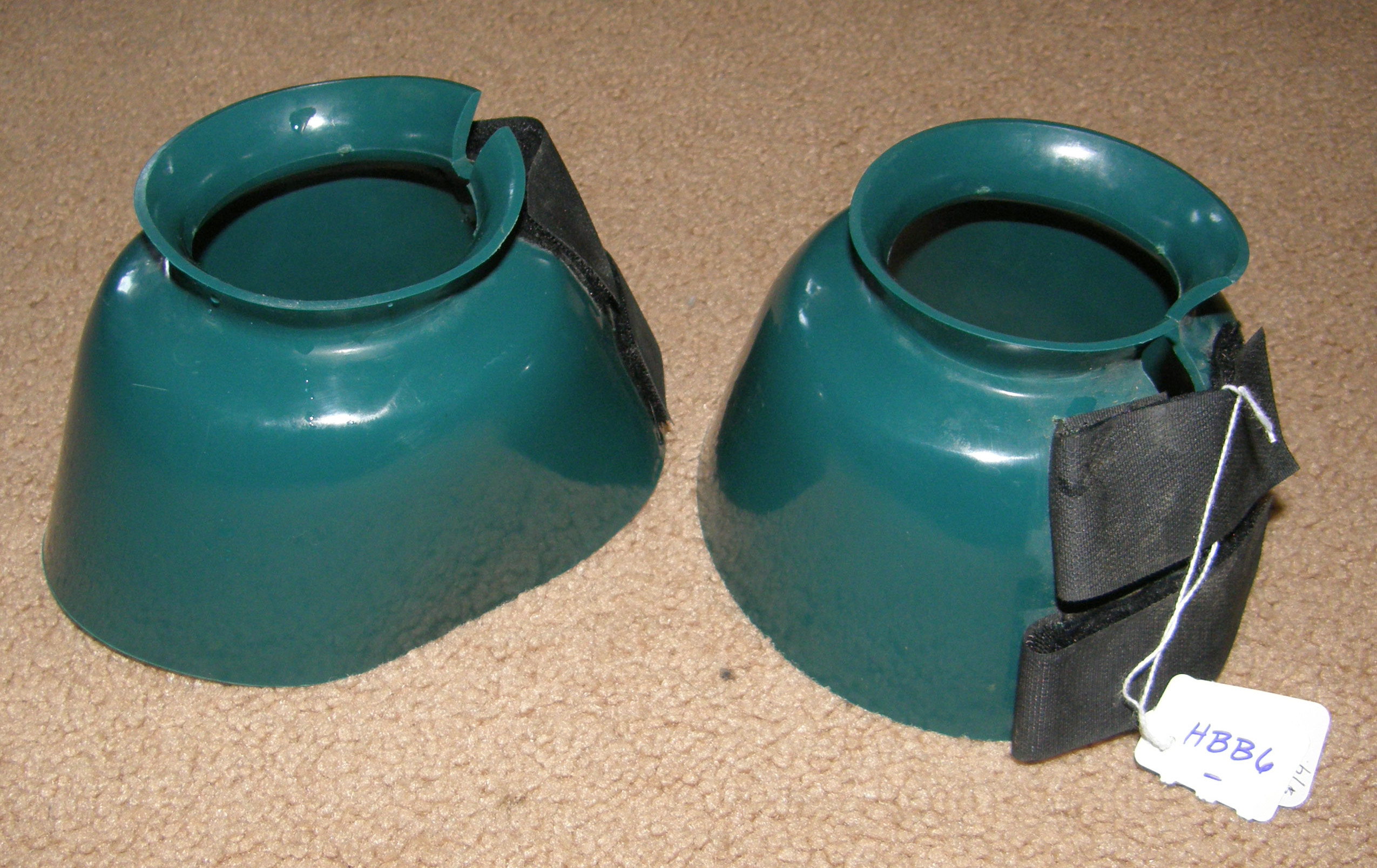 PVC Smooth Bell Boots Overreach Boots Double Velcro Closure M Horse Teal Green