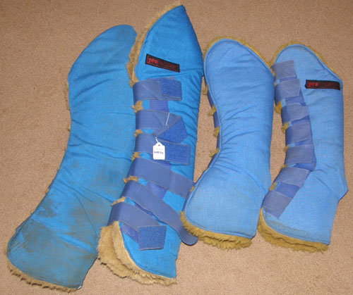 Protectors Fleece Lined Flared Shipping Boots Professional Horse Shippers Shaped Shipping Boots Blue