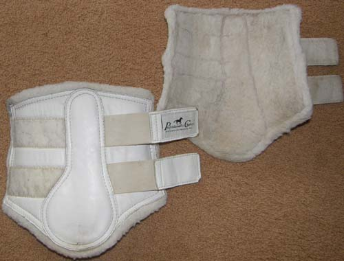 Professional's Choice Fleece Lined Leather Boots Tendon Boots Splint Boots Leg Protection M Horse White