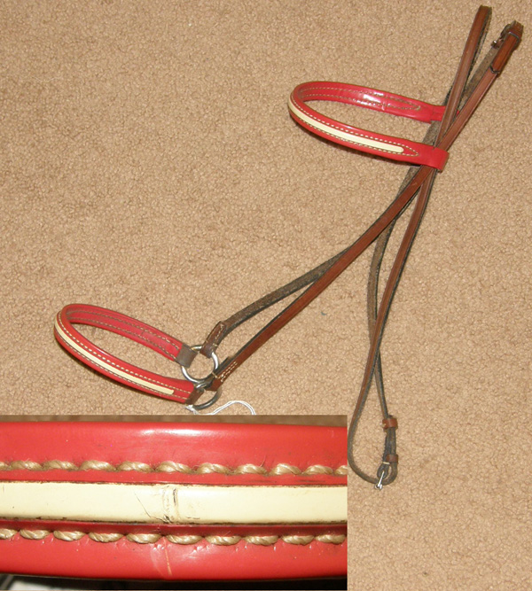 Vintage Billy Royal? Lt Breed or Arabian Horse Patent Leather Show Halter Red/White