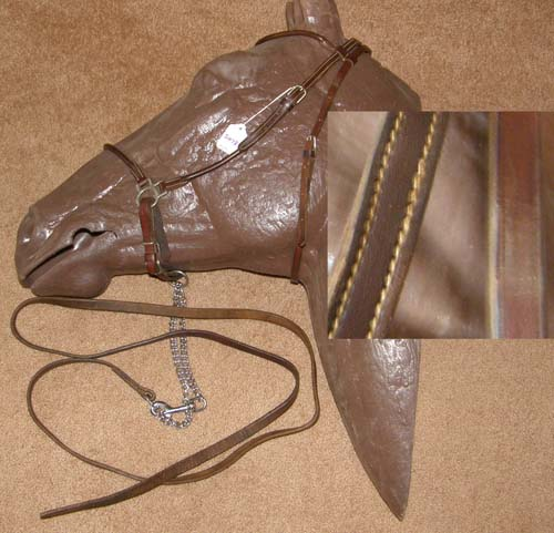 Rolled Leather Arabian Show Halter with Lead Light Breed Show Halter & Chain Lead Brown