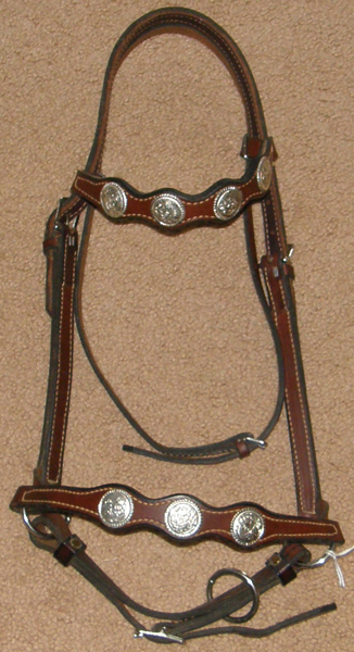 Older Style Lt Breed Show Halter with Silver Conchos Leather Arabian Show Halter Presentation Show Halter with Browband