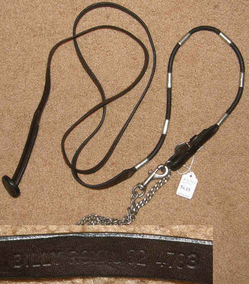 Vintage Billy Royal Rolled Leather Show Lead w/chain Arabian Show Lead Silver Ferrules Silver Beads
