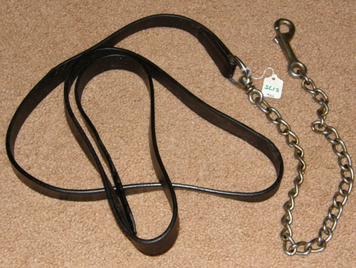 "Leather Lead with Chain Show Lead w/Chain Single Ply Leather with 24"" Chain"
