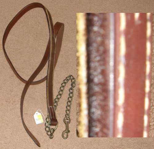 "Leather Lead with Chain Show Lead w/Chain Single Ply Leather with Brass 23"" Chain"