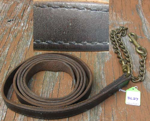 Leather Lead with Chain Show Lead Brass Chain