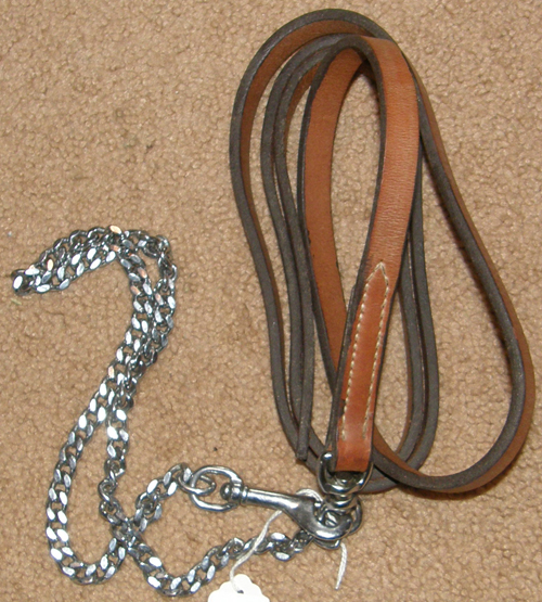 "Leather Lead with Chain Show Lead Chain Single Ply Leather with 30"" Chain Chestnut Lt Oil"