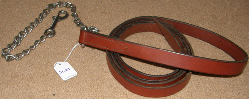 "Leather Lead with Chain Show Lead Chain Single Ply Leather with 24"" Chain Stud Chain Stallion Lead Dark Chestnut"