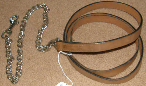 "Leather Lead with Chain Show Lead Chain Single Ply Leather with 26"" Chain Lt Oil Antique Brown"