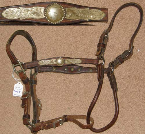 Vintage MacPherson Leather Western Show Halter Western Stock Halter Silver Show Halter Silver Trim Brown Horse