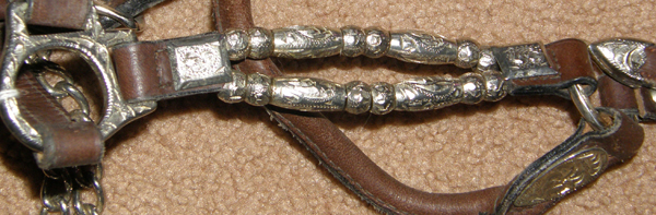 Western Stock Show Halter with Double Row Silver Ferrule Beads & Chain Lead Silver Show Halter & Lead Chain Dark Brown S Horse/Horse