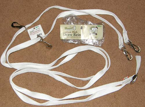 Tough-1 White Cotton Web Draw Reins with Snaps