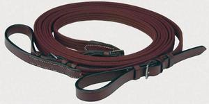 Lancers Cotton Web Draw Reins with Leather Ends English Draw Reins