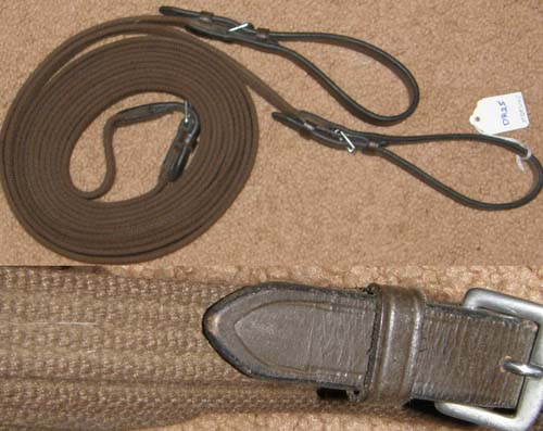 Brown Cotton Web Draw Reins with Leather Ends