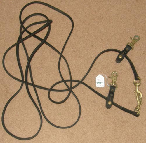 Weaver? Tory? Harness Leather Draw Reins Pulley Draw Reins with Brass Snaps Black