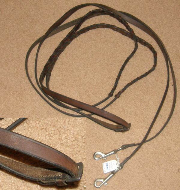 TSS Leather Draw Reins with Snaps Laced Reins English Draw Reins