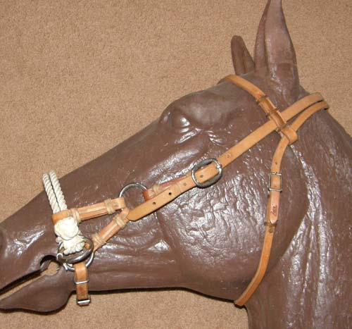 Tory Double Rope Nose Side Pull Headstall Harness Leather Sidepull Training Headstall