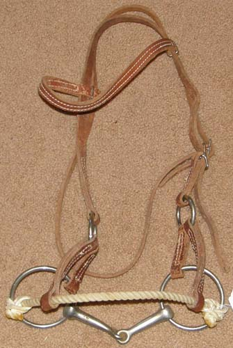 "Rope Nose Side Pull Headstall Half Breed Sidepull Training Headstall with 5"" Snaffle Bit"