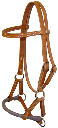 Braided Latigo Nose Side Pull Headstall Sidepull Training Headstall