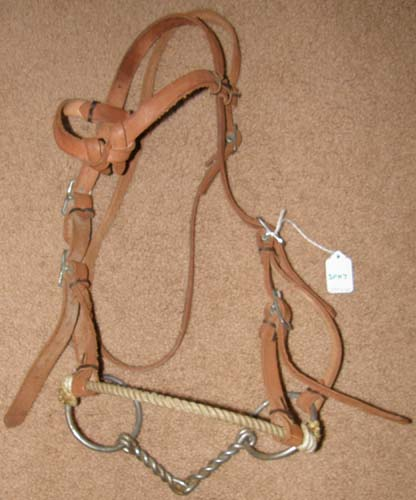 Rope Nose Side Pull Headstall Half Breed Sidepull Training Headstall with Twisted Wire Snaffle Bit
