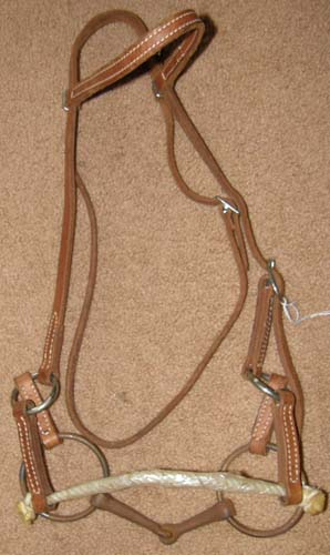 Rope Nose Side Pull Headstall, Half Breed Sidepull Training Headstall with Sweet Iron Snaffle Bit