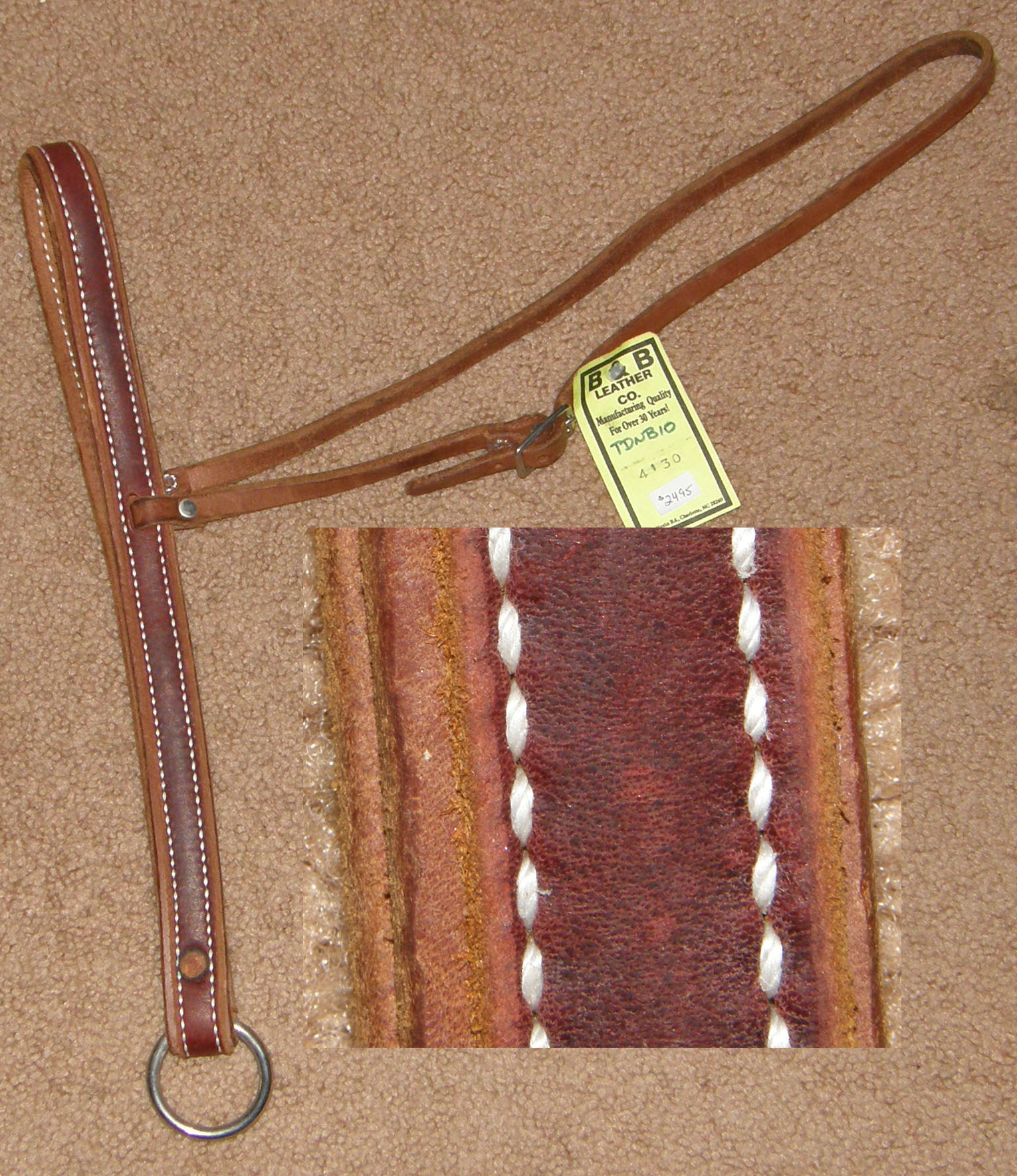 B&B Leather Harness Leather Tie Down Noseband Latigo Leather Overlay Tiedown Noseband Roper Noseband Russet Brown Horse