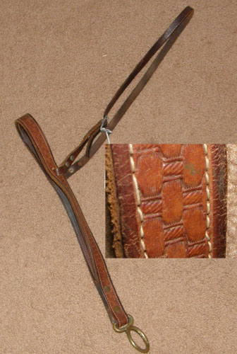 Leather Tie Down Noseband with Basket Weave Tooling Tiedown Noseband Basketweave Tooled Roper Noseband Brown Horse