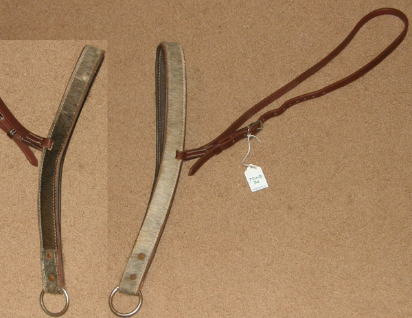 Cowhide Hair On Leather Tie Down Noseband Hide On Padded Leather Tiedown Noseband Roper Noseband Russet Brown Horse