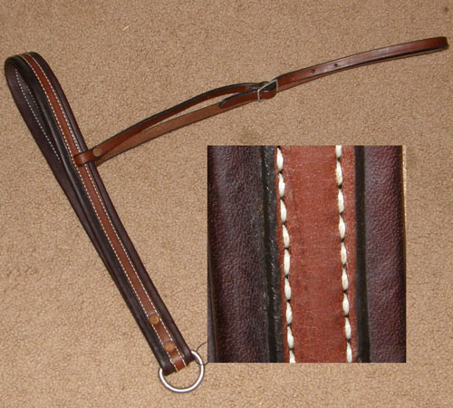 US Saddlery Padded Leather Tiedown Noseband Leather Overlay Tie Down Roper Noseband Brown Horse