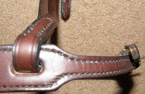 Tory Leather Western Style Caveson Doubled & Stitched Bridle Leather Western Noseband Dark Oil Horse