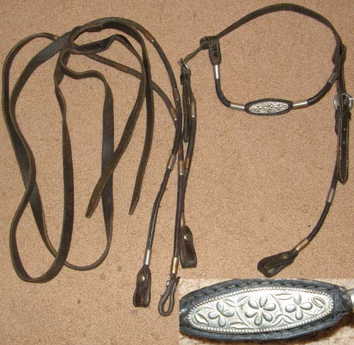 Poco Bueno Browband Western Headstall Split Reins Rolled Leather Western Bridle Silver Ferrules Arabian Paso Gaited Horse Bridle Dark Oil