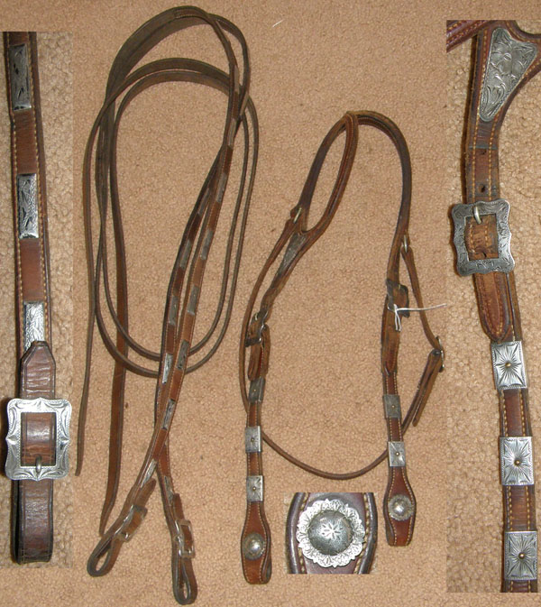 Vintage Shaped Ear Western Headstall Split Reins JRH One Ear Western Bridle Sterling Silver Conchos Diablo Silver Buckles Silver Trim Brown Horse
