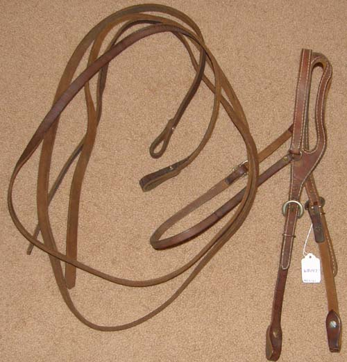 Shaped Ear Western Headstall Shaped One Ear Western Bridle Split Reins Brown Horse