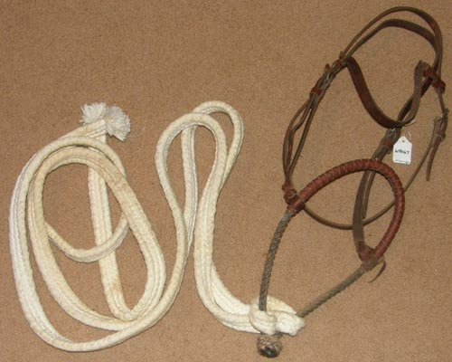 Working Hackamore Bridle Leather Wrapped Rope Noseband Bosal Bridle Leather Western Headstall Split Cotton Rope Reins Sturdy Training Bridle Western Bridle Bitless Bridle Horse