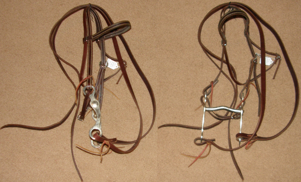 "Weaver Latigo Leather Pony Western Bridle Western Headstall with Split Reins 4 1/2"" Curb Bit Western Pony Bridle"