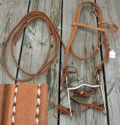 "Western Heritage Browband Western Bridle Western Headstall Split Reins 5"" Curb Bit Complete Harness Leather Bridle Lt Oil Horse"