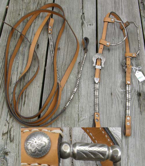 Jacks? Sliding Double Ear Western Show Bridle Silver Ferrule Beads Lt Oil Western Show Headstall Silver Ferrules Weighted Split Reins Horse