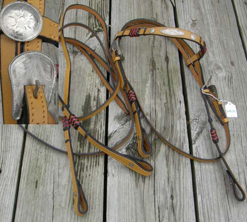 Royal King? Showman? Braided Rawhide Browband Western Bridle California Braid Western Headstall Silver Trim Split Reins Lt Oil