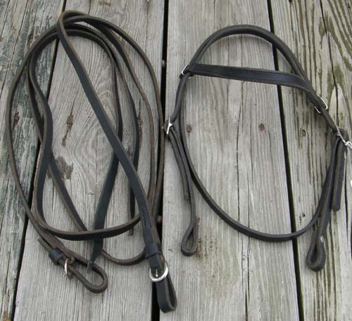 Tory? Weaver? Black Harness Leather Western Bridle Browband Western Bridle with Split Reins Horse