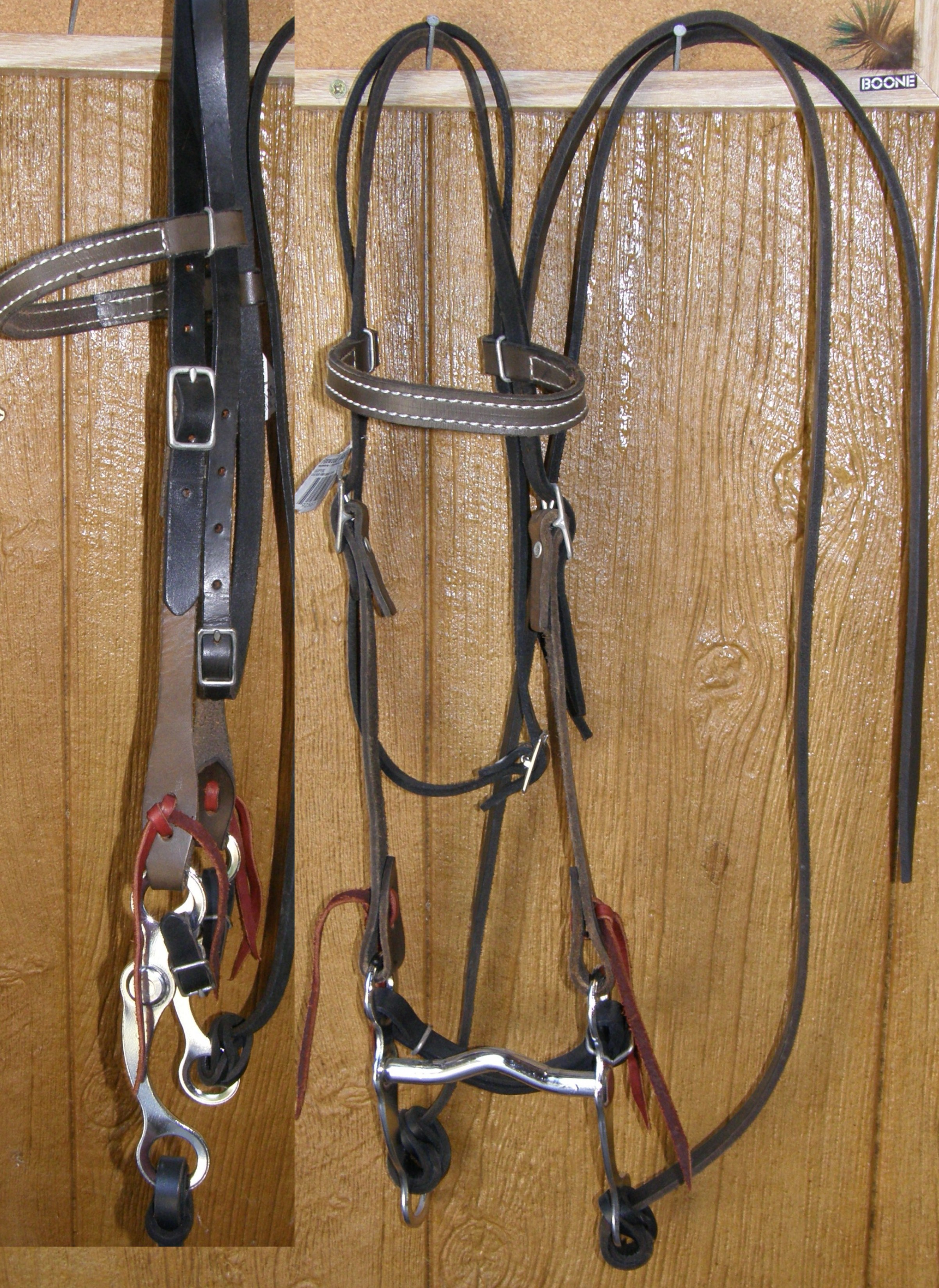 "Millers Foxwood Western Bridle 2 Tone Antique Brown/Black Leather Pony Bridle Split Reins 4 1/4"" Curb Bit"