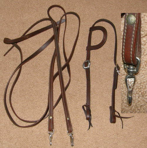 Tory? Leather Sliding Ear Western Headstall Sliding One Ear Western Bridle Split Reins Dark Oil Horse