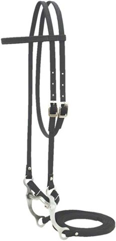 "Abetta Cordura Bridle Synthetic Western Bridle Browband Western Headstall Split Reins 5"" Low Port Curb Bit Black Curb Strap Horse/L Horse"
