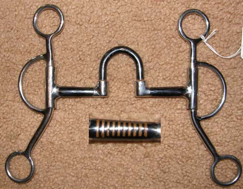 "5"" Sweet Iron Correction Mouth Bit 3 pc Training Curb Bit with Loomis Shanks Western Curb Bit"