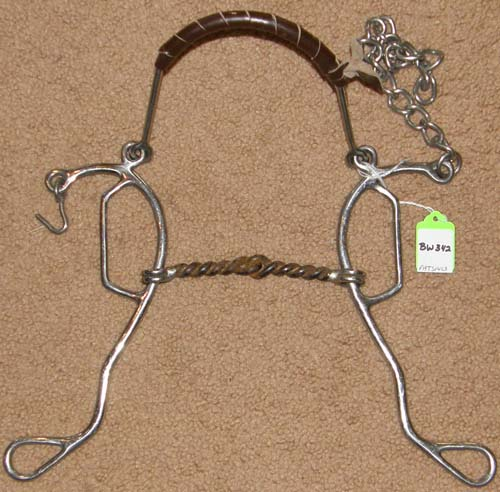 "5""Sweet Iron Twisted Wire Mouth Combination Gag Hackamore Bit Combo Gag Bit Leather Wrapped Steel Noseband Mule Bit"