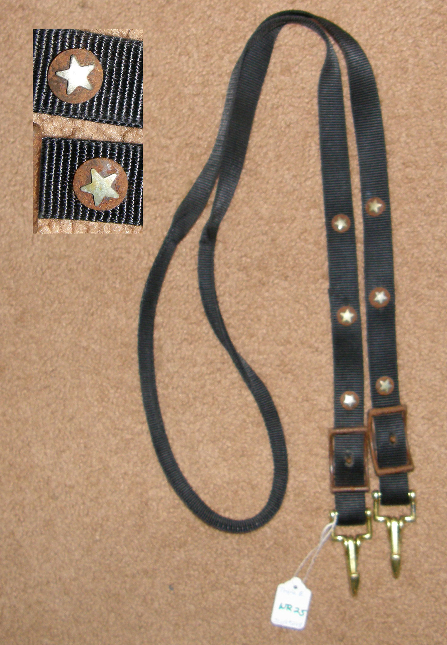 "Triple E Rolled Nylon Gaming Reins Roping Reins Western Reins Snap Ends Antique Brown Silver Star Conchos Black 1"" x 6 1/2'"