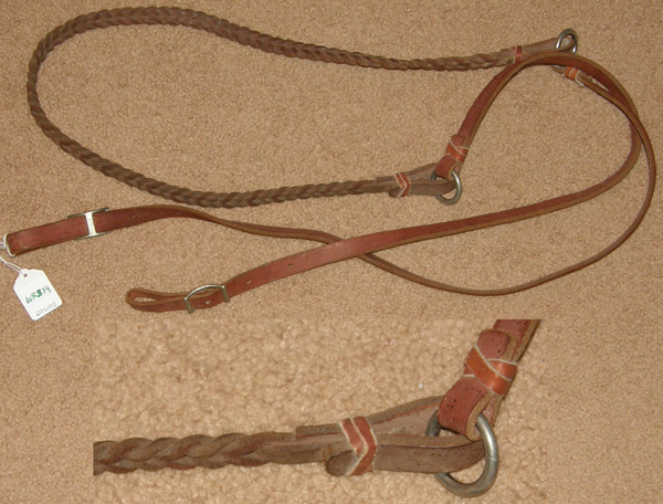 "Braided Leather Western Reins 2 Part Plaited Center Contest Roping Reins Gaming Reins Brown 5/8"" x 8'"