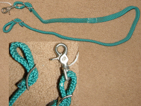 "Braided Cord Roping Reins Gaming Reins Mini Pony Contest Reins Western Reins Snaps Tiedown Strap Tie Down Teal Green 3/4"" x 4'"