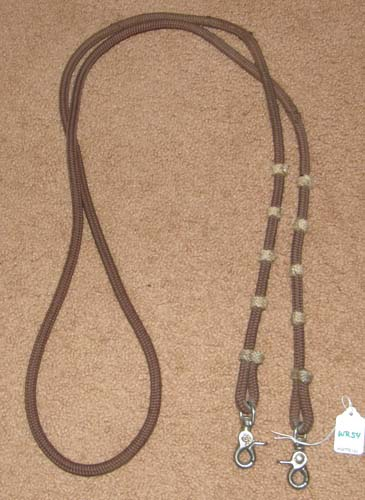 "Royal King? Vaquero Round Braided Poly Cord Contest Reins Roping Reins Gaming Reins Western Reins Brown/Tan 3/8"" x 8'"